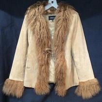 Vintage Express Tan Suede Phoebe Jacket Mongolian Lamb Collar & Cuffs Size Med Photo