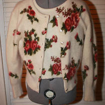Vintage Express Tricot Twin Sweater Set Angora Roses Stunning Medium Photo