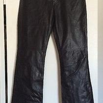Vintage Express Womens Leather Motorcycle Boot Cut Black Pants - Size 1/2 Photo