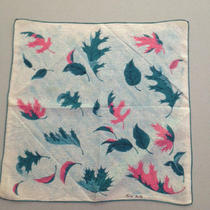 Vintage  Faith Austin Handkerchief Leaves in Teal Aqua Pink Mid Century Photo