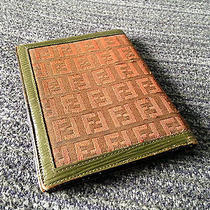 Vintage Fendi Men Wallet Rare Olive Green Leather Authentic Brown Fabric Unique Photo