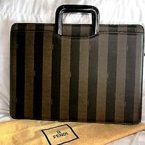 Vintage Fendi Roma Canvas & Leather Briefcase Tote Portfolio W Storage Bag  Photo