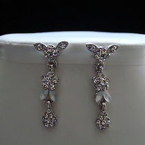 Vintage Flower Dangle Earrings Bridal Clear Swarovski Earrings E1065 Photo