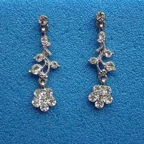 Vintage Flower Dangle Earrings Bridal Swarovski Earrings E1051 Photo