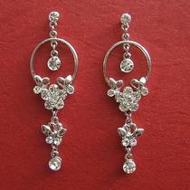 Vintage Flower Dangle Earrings Clear Swarovski Crystal Bridal Earrings E1225 Photo