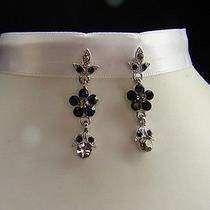Vintage Flower Dangle Earrings With Jet  Swarovski Earrings E1057 Photo