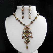 Vintage Flower Necklace & Earrings Set Topaz Swarovski Crystal Gold Tone N3031b Photo