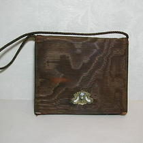 Vintage Folding Bag Enameled Snap Brown & Aqua Cloth Purse Mirror & Change Purse Photo