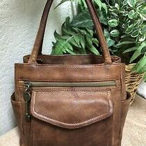 Vintage Fossil 1954 Brown Distressed Leather Handbag Bag Tote Small Key Fob Photo