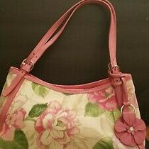 Vintage Fossil 1954 Pink Floral Canvas Leather Shoulder Bag Satchel Handbag Fob Photo