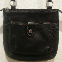 Vintage Fossil Black Brown Leather Crossbody Purse  Photo