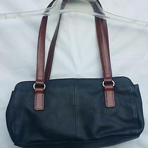 Vintage Fossil Black Brown Small Purse Handbag Tote Satchel  Photo