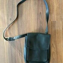 Vintage Fossil Black Leather Crossbody Messenger Handbag Bag Purse - Used Photo
