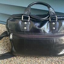 Vintage Fossil Black Leather Laptop Briefcase Bag Photo