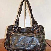 Vintage Fossil Black Leather Shoulder Bag Handbag Purse Tote  Photo