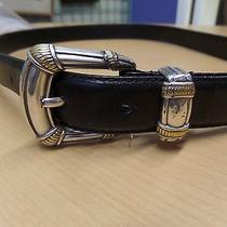 Vintage Fossil Black Leather Silver Metal Buckle Marked Size Large Photo