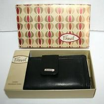 Vintage Fossil Black Leather Wallet  Checkbook Clutch With Box Looks Unused Photo