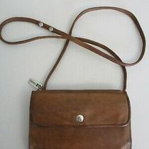 Vintage Fossil Brown Leather Crossbody Clutch Wallet Removeable Strap Photo