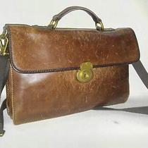 Vintage Fossil Brown Leather Crossbody / Messenger / Laptop Bag Photo