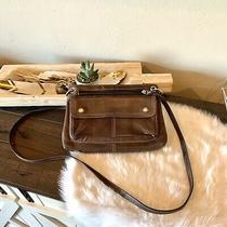 Vintage Fossil Brown Leather Crossbody Wallet Organizer Purse Shoulder Bag Photo