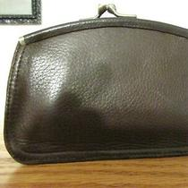 Vintage Fossil Brown Leather Kiss Lock Card Holder Id Coin Change Purse Wallet  Photo