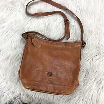 Vintage Fossil Brown Leather Zip Top Crossbody Bucket Bag Purse Photo