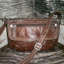 Vintage Fossil Brown Soft Leather Adj Strap Crossbody Messenger Shoulder Bag   Photo