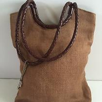 Vintage Fossil Burlap and Leather Tote Photo