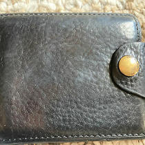 Vintage Fossil Button Authentic Black Leather Mens Wallet Photo