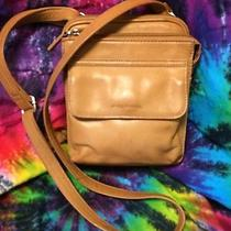 Vintage Fossil Camel Tan Brown Leather Organizer Crossbody Small Messenger Bag Photo