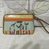 Vintage Fossil City Birds Zip Around Wristlet (8) Card Id Wallet Coated Canvass Photo