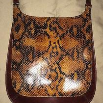 Vintage Fossil Crossbody Bag Brown Snake Print Photo