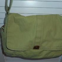 Vintage Fossil Crossbody Handbag - Green Fabric With Leather Trim - Euc Photo