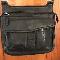 Vintage Fossil Crossbody Shoulder Handbag Purse Black Pebbled Leather Bag Photo