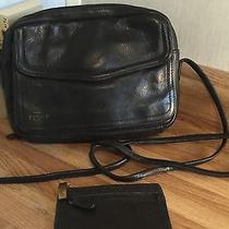 Vintage Fossil Genuine Black Pebble Leather Shoulder Crossbody W/ Coin Pouch Photo