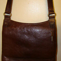 Vintage Fossil Genuine Leather Brown Crossbody Messenger Bag With Flap 75082 Photo