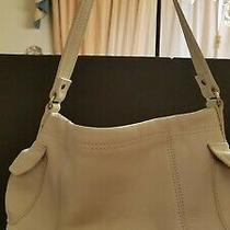Vintage Fossil Handbag Shoulder Satchel Purse Bag Light White Leather Medium Photo
