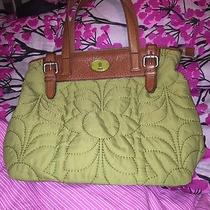 Vintage Fossil Key-Per Quilted Avocado Green Bag Tote Purse Photo