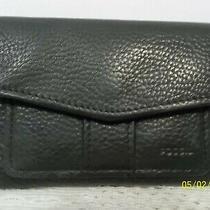 Vintage Fossil Ladies Black Leather Bio-Fold Wallet Photo