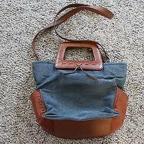 Vintage Fossil Leather and Denim Purse Photo