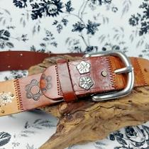 Vintage Fossil Leather and Metal Patchwork Belt Size M Photo