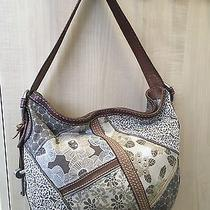 Vintage Fossil Leather Fabric Patch Hobo Shoulder Bag - Nice Photo