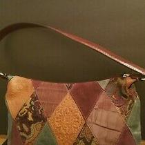 Vintage Fossil Leather Multicolor Tapestry Patchwork Handbag Bag Purse 13x7x4.5 Photo