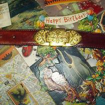 Vintage Fossil Leather & Ornate Brass Hinged Belt S- M () Photo