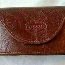 Vintage Fossil Leather Sunglass Eyeglass Hard Case Magnetic Flap Over Soft Brown Photo