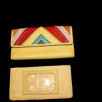 Vintage Fossil Leather Wallet Chevron Yellow Checkbook Organizer Euc Photo