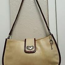 Vintage Fossil Medium Shoulder Bag With Leather Brown Trim Ivory/brown  Photo