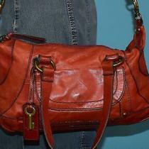 Vintage Fossil Montreal Satchel Red Leather Shoulder Shopper Carryall Purse Bag Photo