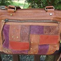 Vintage Fossil Patchwork Leather Handbag Photo