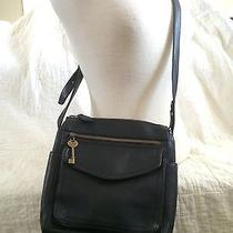 Vintage Fossil Pebbled Leather Crossbody Organizer Purse American Classic Black Photo